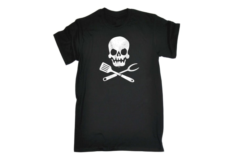 123T Funny Tee - Cooking Skull - (5X-Large Black Mens T Shirt)