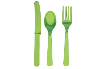 Amscan Plastic Party Cutlery Set (Knives  Forks & Spoons) (Set Of 24) (Kiwi Green)