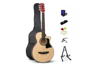 38 Inch Wooden Folk Acoustic Guitar (Natural Wood)