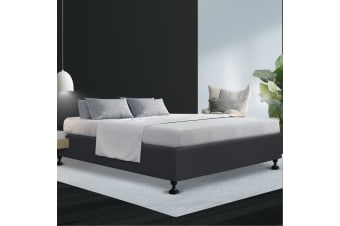 King Size Bed Base Frame Mattress Platform Fabric Wooden Charcoal