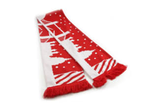 Tower Bridge Christmas Scarf (Red/White) (One Size)