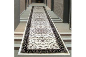 Medallion Runner Ivory with Black Border 400x80cm