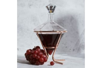 Diamond Glass Wine & Spirit Decanter w/ Rose Gold Stand | Soirée