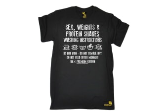 SWPS Gym Bodybuilding Tee - Washing Instructions - (3X-Large Black Mens T Shirt)