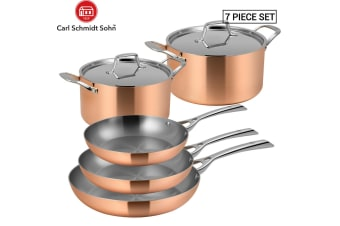 Lassani LASSANi Tri-ply Copper Set of 7 Cookware Frypan Pan Casserole Pots