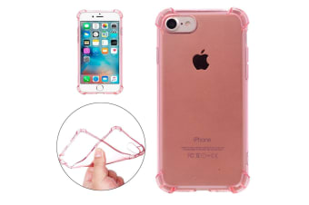 For iPhone 8 7 Case Modish Transparent Cushions Grippy Shielding Cover Rose Gold
