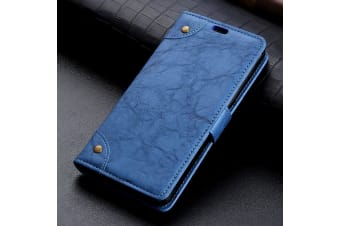For Google Pixel 3 Leather Wallet Case Blue Copper Buckle Horse Texture Cover