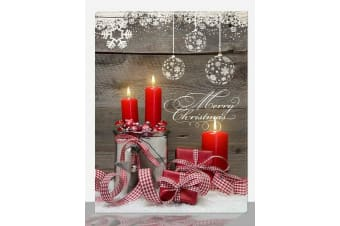 Light Christmas Canvas X'mas LED light up 30x40 House/Candle Picture Wall - Candle