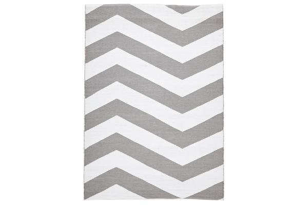 Coastal Indoor Out door Rug Chevron Grey White 220x150cm