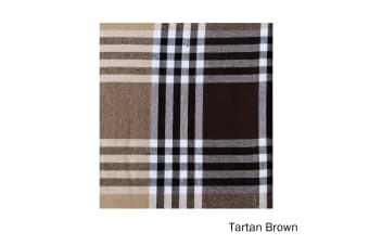 Check Table Cloth Tartan Brown 180 cm Diameter Round