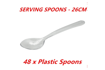48 x 26cm Disposable Large Plastic Serving Catering Spoons Dessert Wedding Party