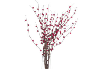 Hill Interiors Artificial Faux Winter Berry Spray (Red/Brown) (82cm)