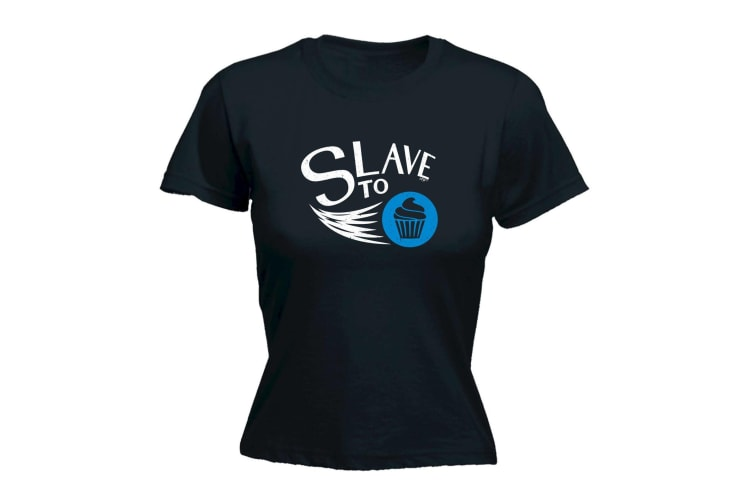 123T Funny Tee - Slave To Cupcakes - (Small Black Womens T Shirt)