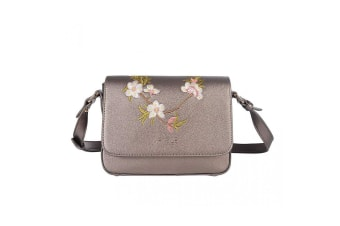 Fable Womens/Ladies Blossom Embroidered Crossbody Bag (Pewter)