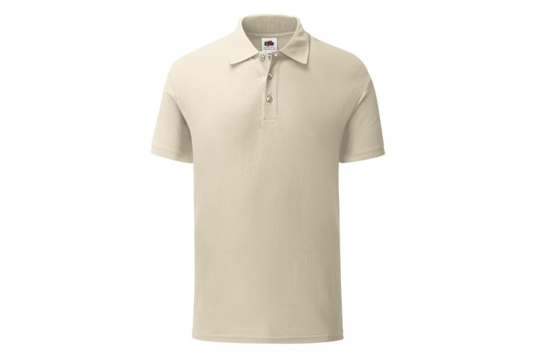 Fruit Of The Loom Mens Iconic Pique Polo Shirt (Natural) (M)