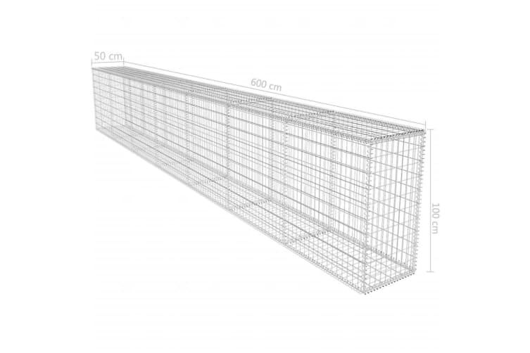 vidaXL Gabion Wall with Cover Galvanised Steel 600x50x100 cm