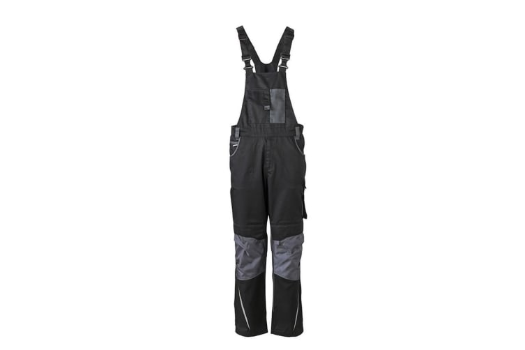 James and Nicholson Unisex Workwear Pants with Bib (Black/Carbon Grey) (46R)