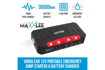Maxxlee 1000A Car 12V Vehicle Portable Emergency Jump Starter & Battery Charger 36000mAh 800A Elinz