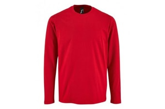 SOLS Mens Imperial Long Sleeve T-Shirt (Red) (3XL)