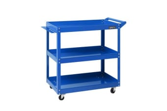 Giantz Tool Cart 3-Tier Parts Steel Trolley Mechanic Storage Organizer Blue