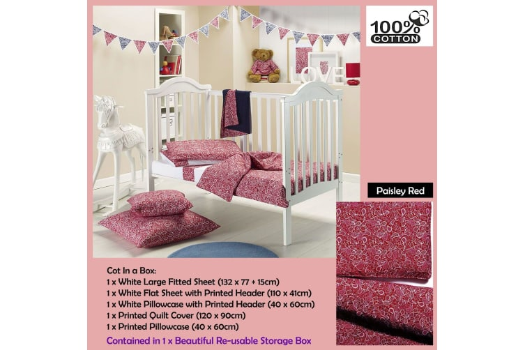 6 Pce - Gypsy Kids Cot in a Box  - Paisley Red by Gypsy Kids