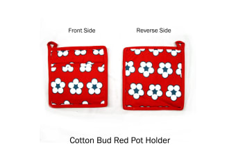 Set of 2 Cotton Bud Red Pot Holders by IDC Homewares