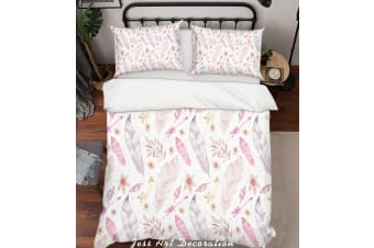 3D Hand Painted Pink Feathers Quilt Cover Set Bedding Set Pillowcases 140-Single