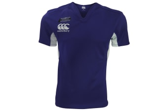 Canterbury Mens Challenge Short Sleeve Rugby Jersey Top (Navy/White)