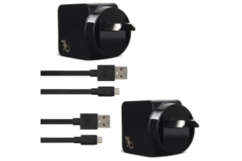 2PK Gecko USB 2.4A Wall Charger w/ 1.5m Micro-USB Cable - Black