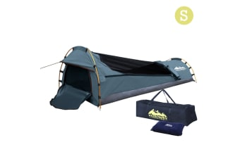Single Camping Canvas Swag with Bag (Navy)