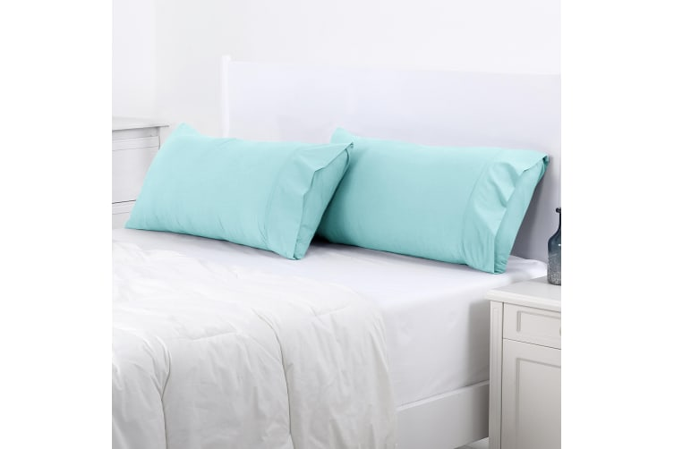 Dreamaker 250TC Plain Dyed King Size Pillowcases - Twin Pack - 90X50cm Canal Blue