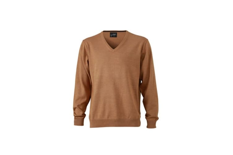 James and Nicholson Mens V-Neck Pullover (Camel Brown) (XXL)