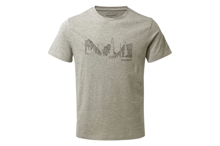 Craghoppers Mens Calvino Short Sleeved T-Shirt (Soft Grey Marl Mountain) (S)