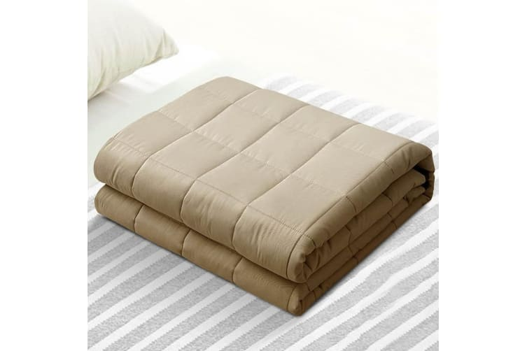 Giselle Cotton Gravity Weighted Blanket Adult 9KG Deep Relax Calming Sleep Brown