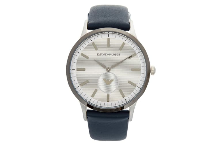 Emporio Armani Men's 43mm Renato Quartz Leather Analogue Wrist Watch Blue/Silver