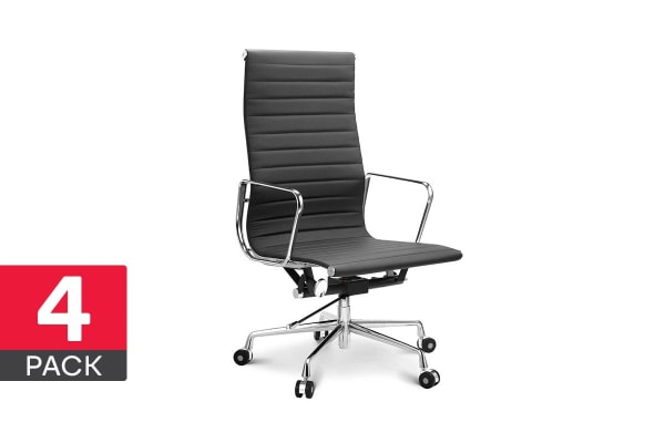 4 Pack Ergolux Executive Eames Replica High Back Ribbed Office Chair (Black)