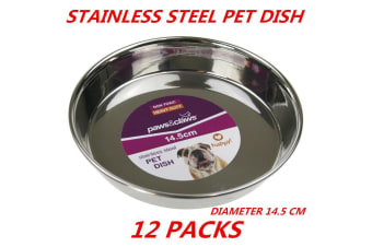 12 x Heavy Duty Metal Stainless Steel Dog Cat Pet Puppy Dish Food Water Bowl Plate