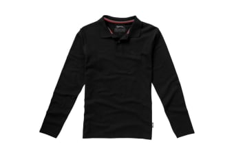 Slazenger Mens Point Long Sleeve Polo Shirt (Solid Black)