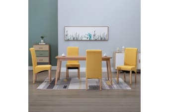 vidaXL Dining Chairs 4 pcs Yellow Fabric