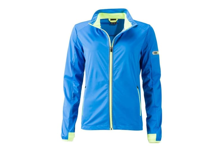 James and Nicholson Womens/Ladies Sports Softshell Jacket (Bright Blue/Bright Yellow) (L)