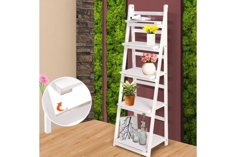 finest selection a5415 80c23 5 Tier Wooden Ladder Shelf Stand Storage Book Shelves - White