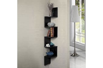 Zigzag Large Corner Wall Mount Display Shelf - Black
