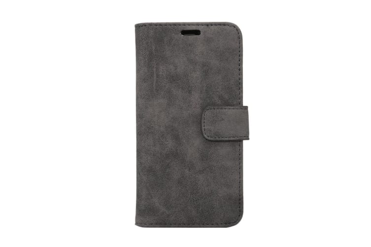 For iPhone XS X Wallet Case Elegant Sheep Texture Protective Leather Cover Black