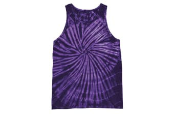 Colortone Womens/Ladies Sleeveless Tie-Dye Tank Top (Spiral Purple)