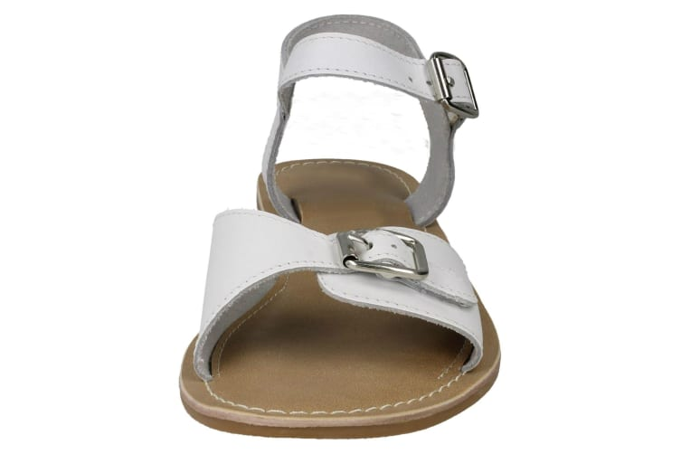 Leather Collection Womens/Ladies Buckle Strap Sandals (White Leather) (UK Size 5)