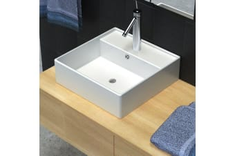 vidaXL Ceramic Basin Square with Overflow and Faucet Hole 41 x 41 cm