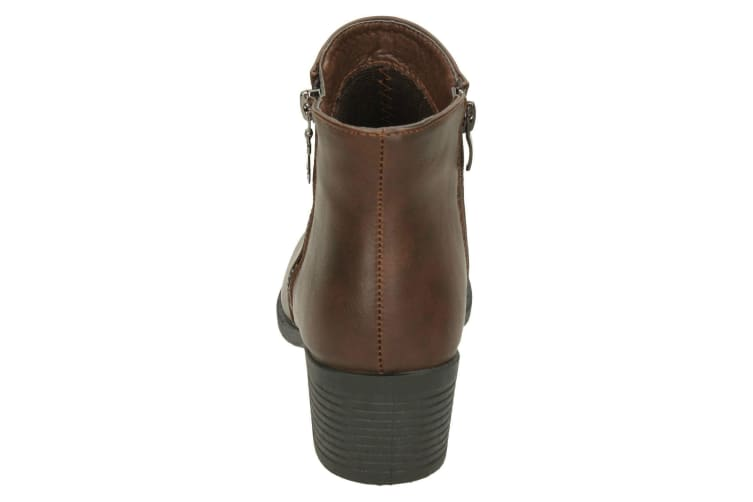 Spot On Womens/Ladies Mid Heel Ankle Boots (Brown) (UK 8)