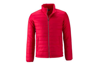 James and Nicholson Mens Padded Jacket (Red) (3XL)