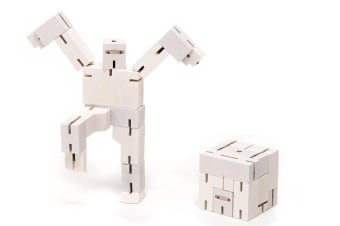 Cubebot Micro Wooden Robot Puzzle - White