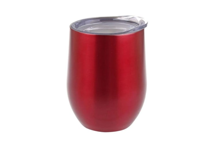 Oasis 330ml Stainless Steel Double Wall Insulated Wine Tumbler Mug w  Lid Ruby
